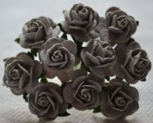1.5cm GREY Mulberry Paper Roses